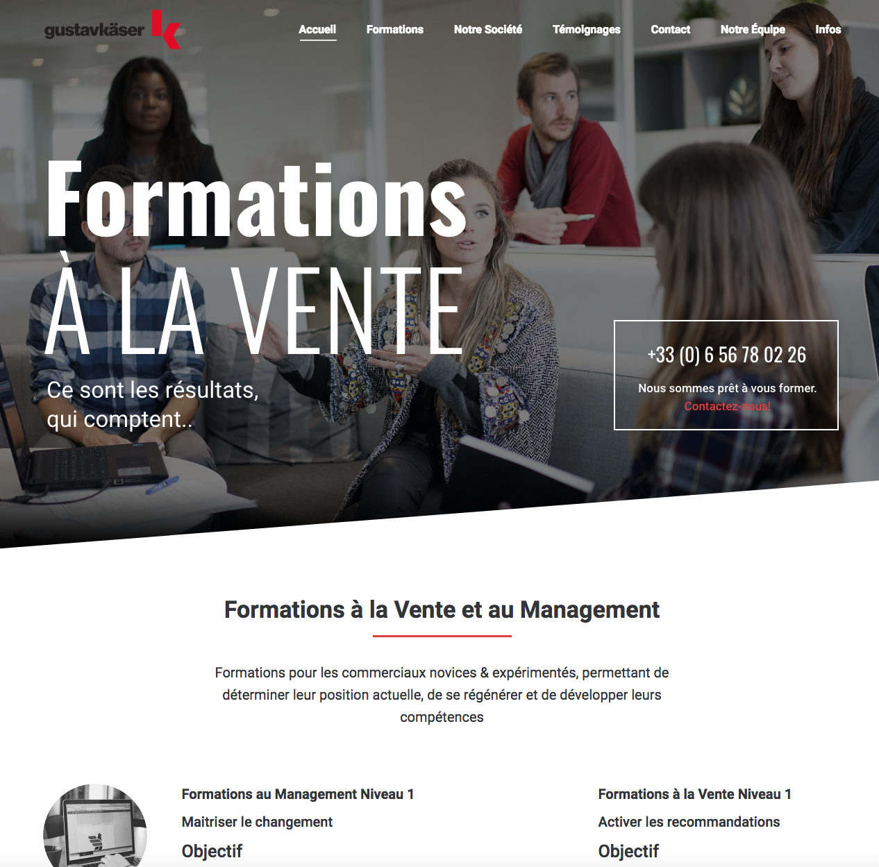 formations vente - site internet one page